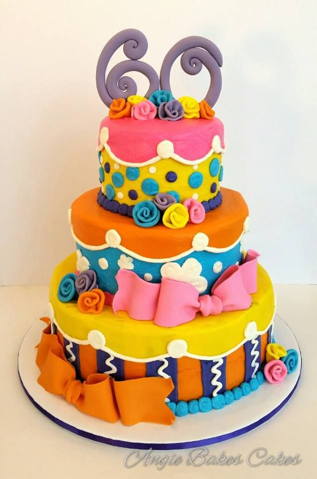fun and colorful 60th birthday Birthday Cakes Pinterest 60th