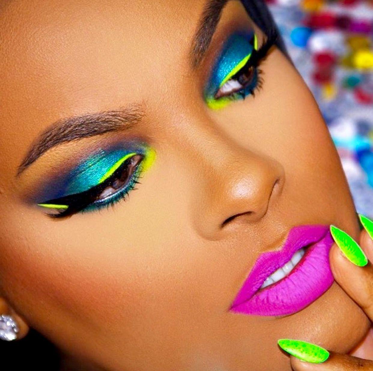 Neon makeup and Nails