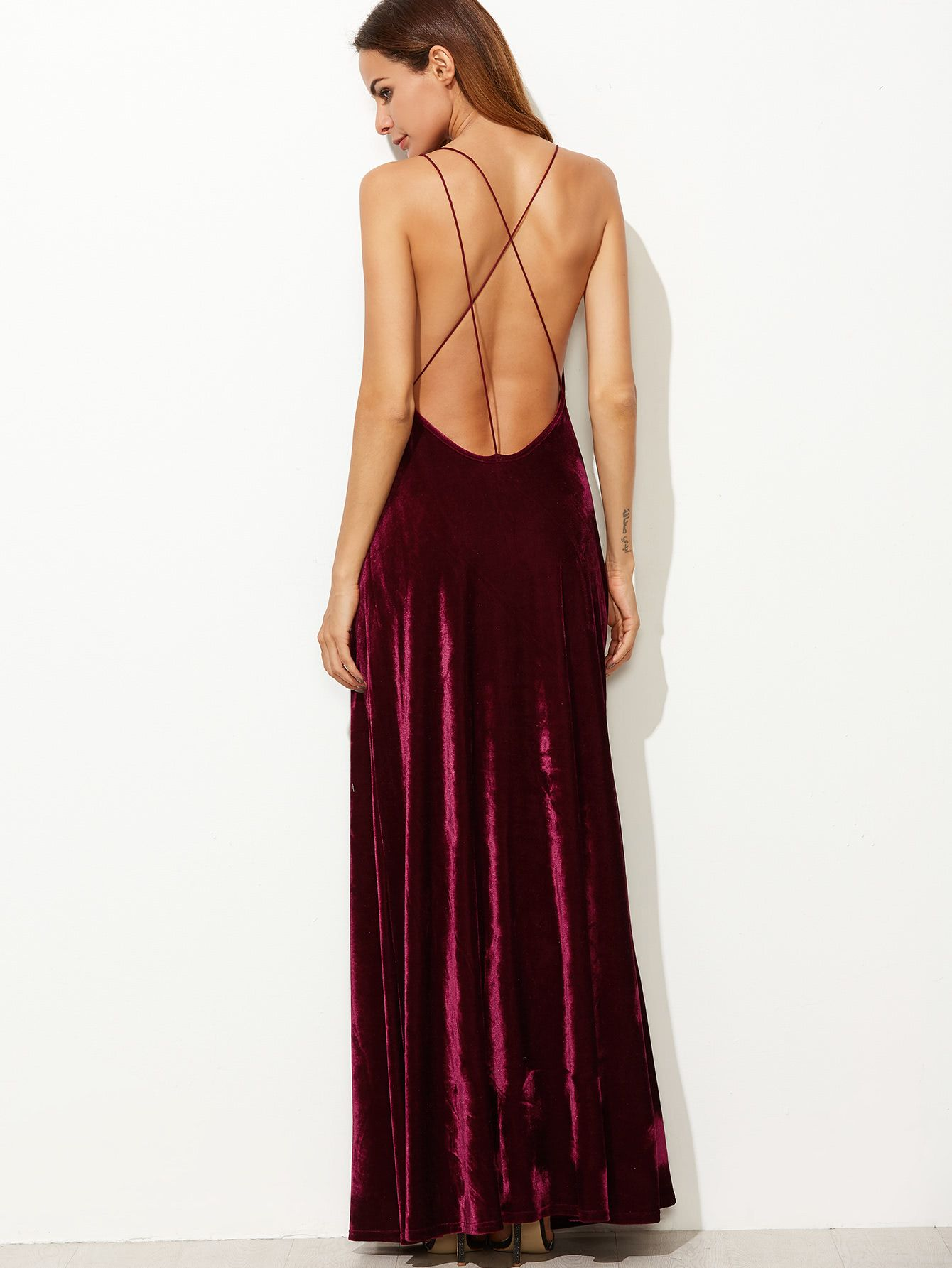 cf96b0608f6a Shop Strappy Backless Wrap Velvet Dress online. SheIn offers Strappy Backless  Wrap Velvet Dress & more to fit your fashionable needs.
