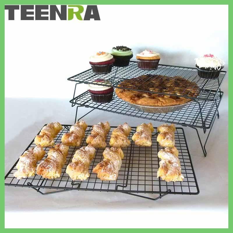 Teenra 3 Tier Metal Non Stick Cooking Rack Net Bread Muffin Drying Stand Cake Cooling Rack Net Cake Cooler Holder Baking Tools Muffins De Manzana Empaques