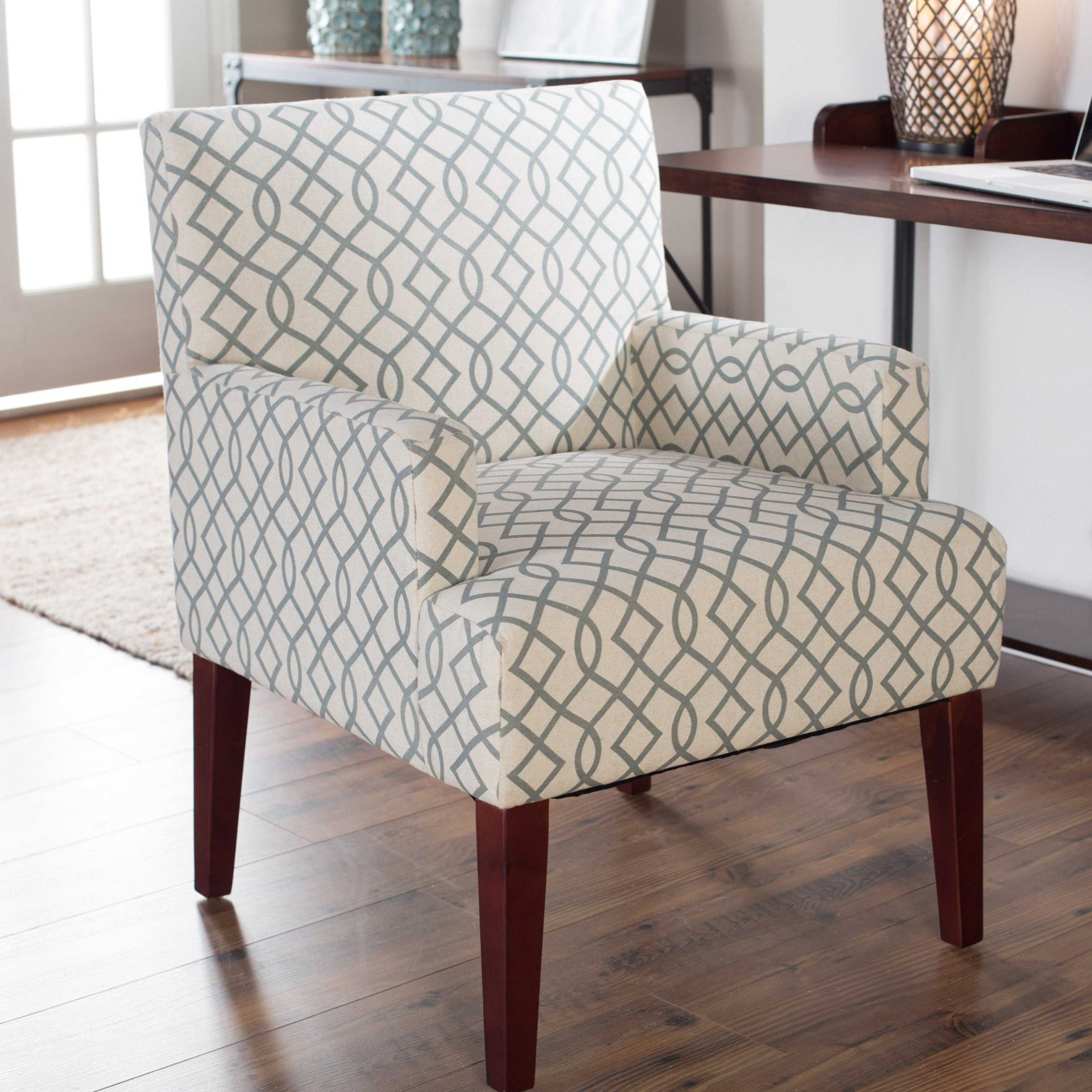 Grey Patterned Accent Chair Custom Decoration