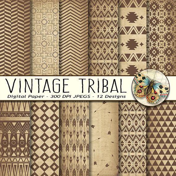 Neutral Aztec Digital Paper Tribal Digital Paper Old Vintage Etsy In 2020 Digital Paper Digital Scrapbook Paper Pattern