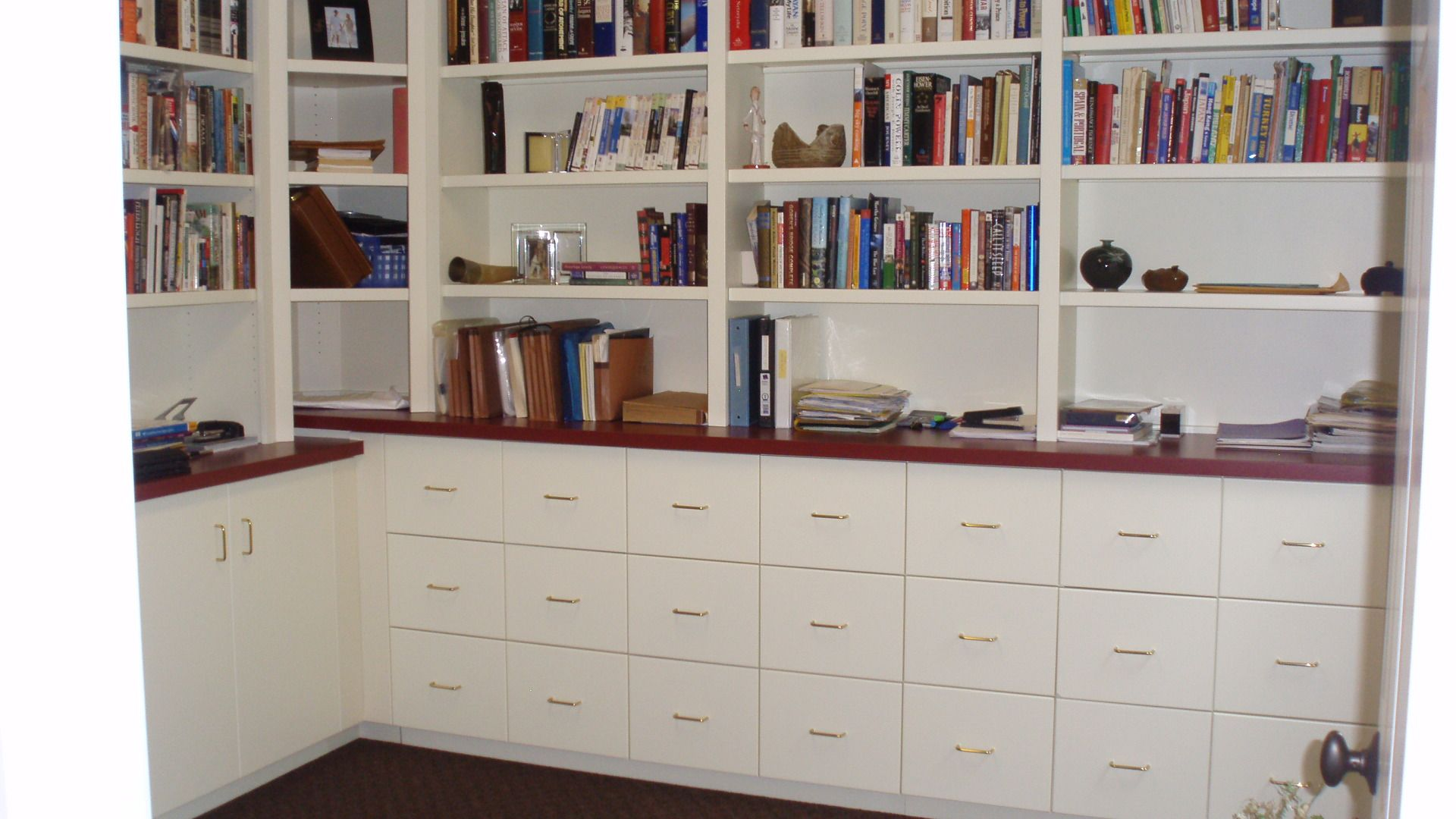 Built In Filing Cabinets Painted Bookcase With File Drawers Below Senn S Custom