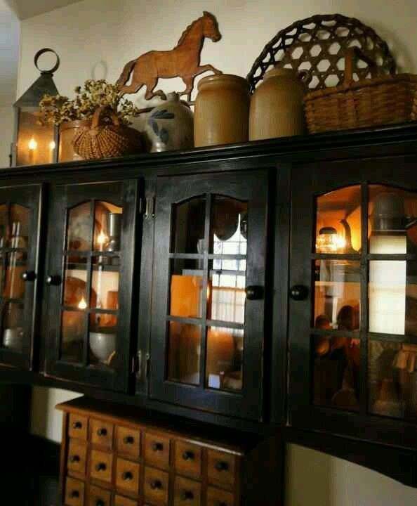 Kitchen Cabinet Top Decor Ideas: Primitive Decorating Is About Collections Of Items That