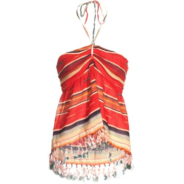 Denim & Supply By Ralph Lauren Striped Fringe Halter Justin Striped... ❤ liked on Polyvore