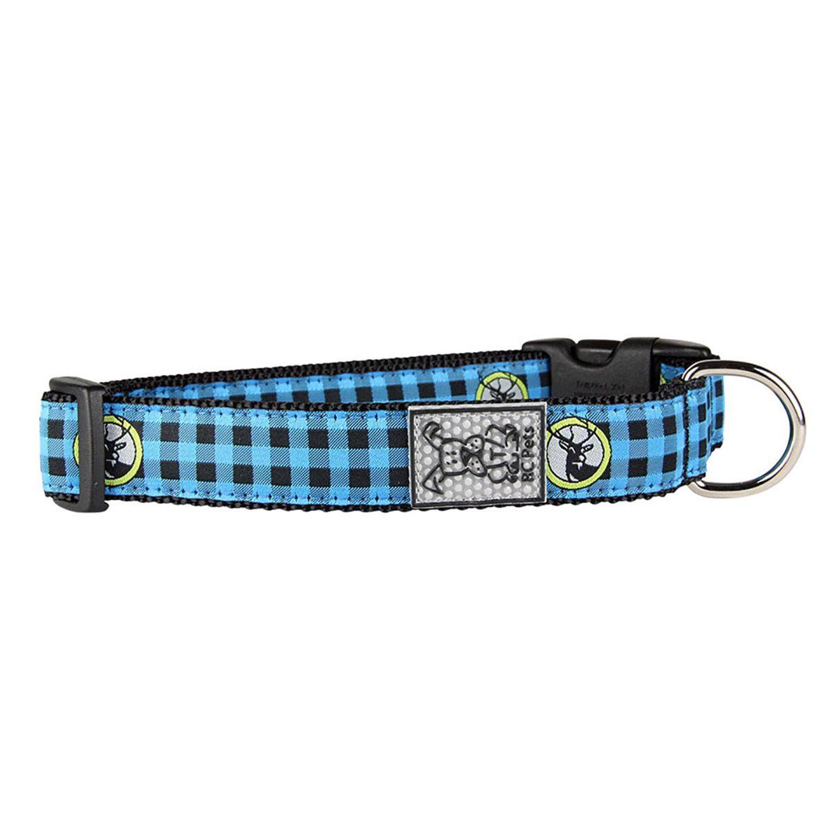 Buffalo Plaid Adjustable Dog Collar by RC Pet Blue Dog