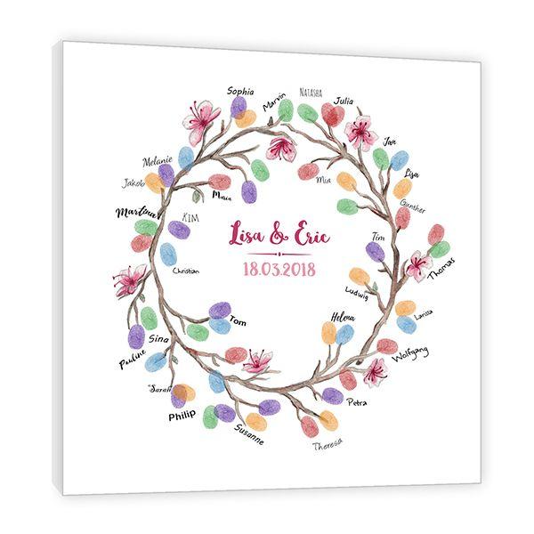 Fingerabdruck Leinwand - Fingerabdruck Blumenkranz #leinwandideen