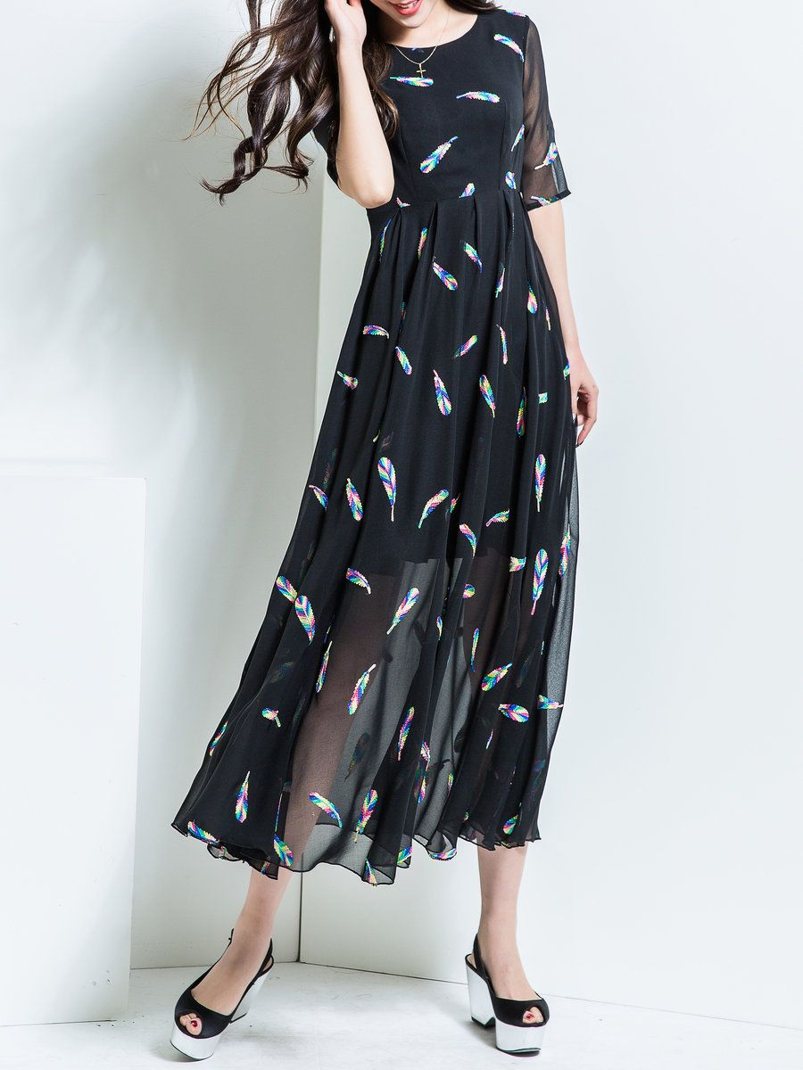 #AdoreWe #StyleWe Maxi Dresses - BORME Black Crew Neck Half Sleeve Maxi Dress - AdoreWe.com