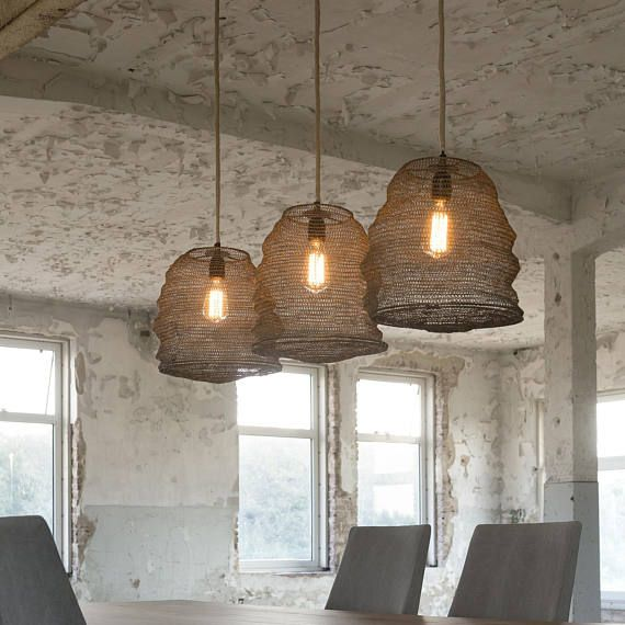 32 More Stunning Scandinavian Dining Rooms: Bronze Honeypot Basket Pendant Lights. Trio Of