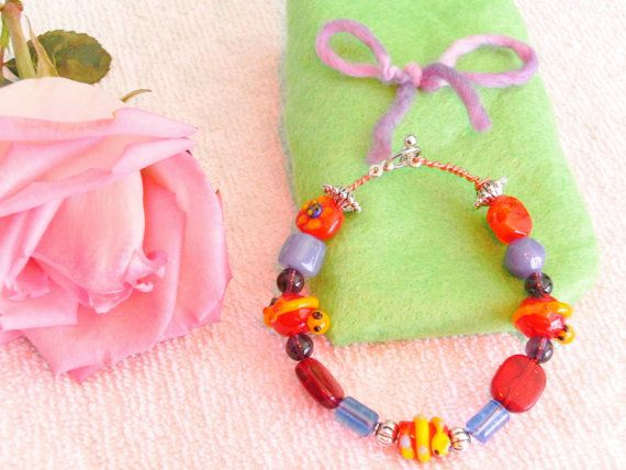 Children's Lamp work beads snakes and flowers by akemanartist, $7.00