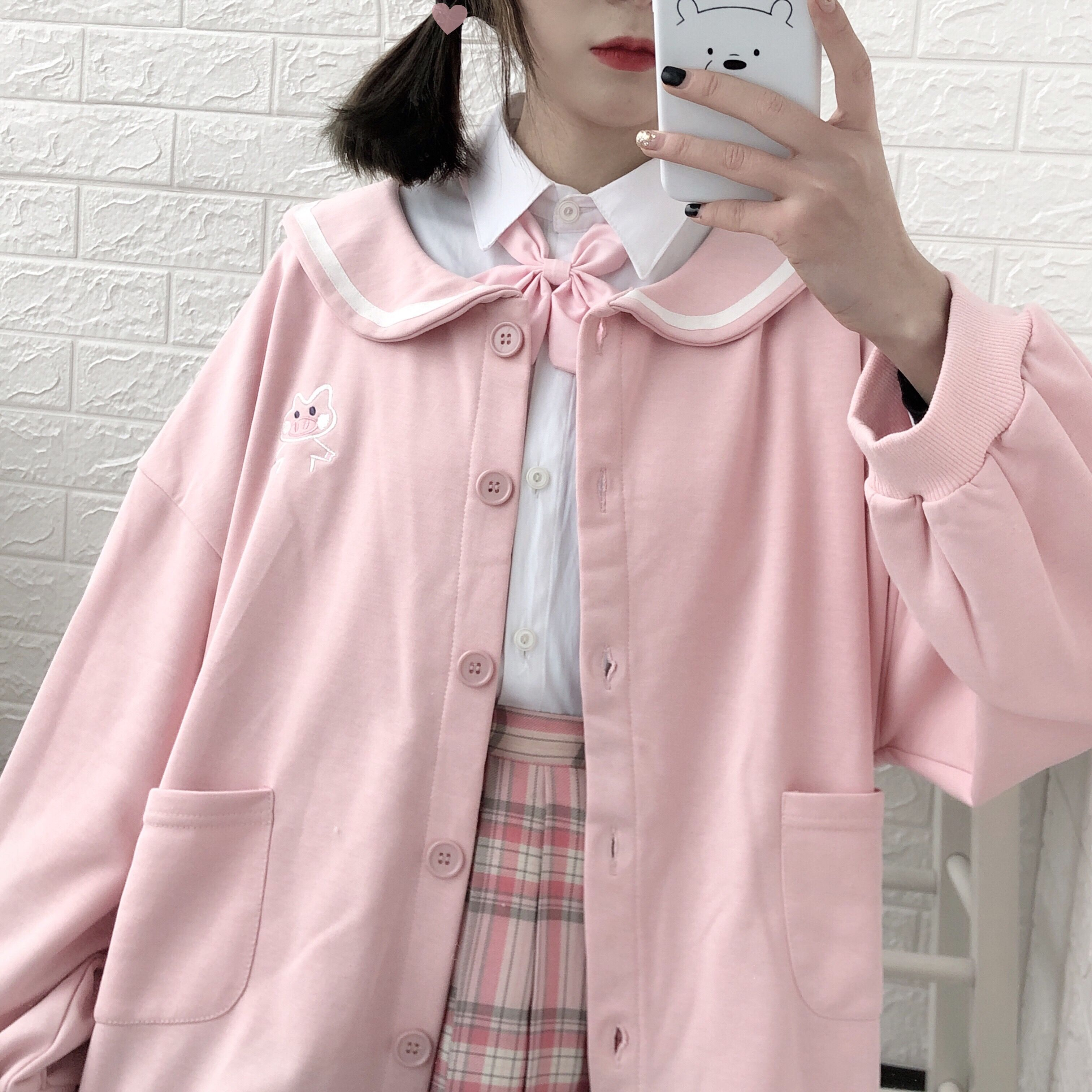 Cute doll collar college wind jacket