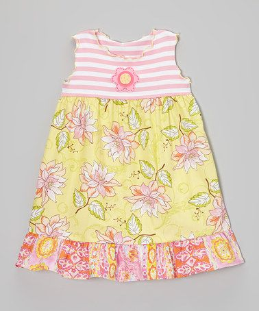 Another great find on #zulily! Yellow & Pink Floral Ruffle Babydoll Dress - Toddler & Girls #zulilyfinds