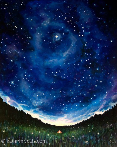 Night Sky Painting Tent Under Stars Canvas Print Landscape