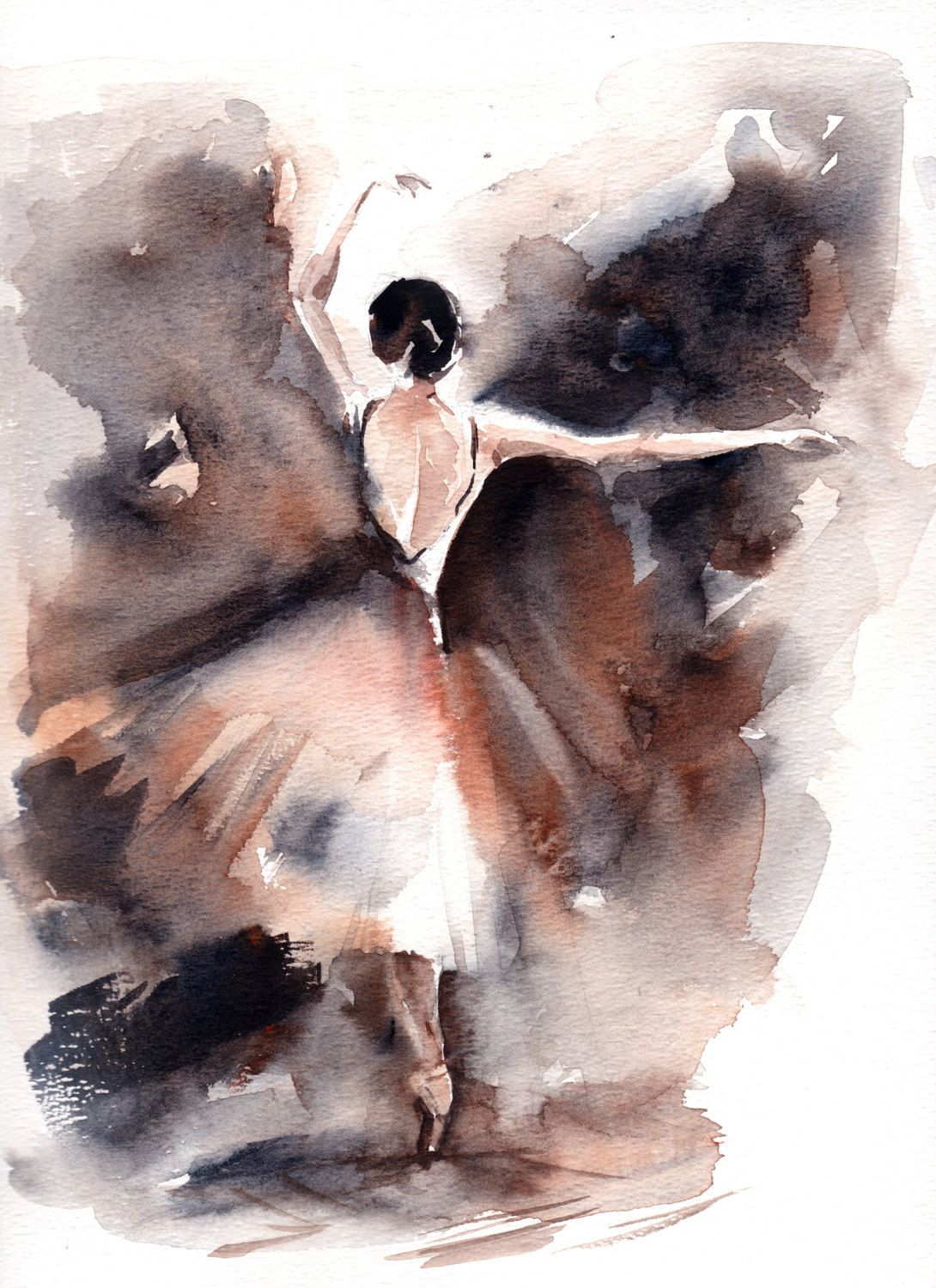 Original Watercolor Painting Ballerina Painting Watercolor Art