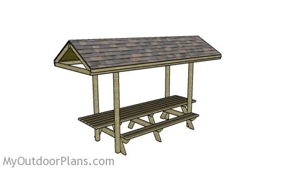 12 foot picnic table with roof plans myoutdoorplans for 12 foot picnic table