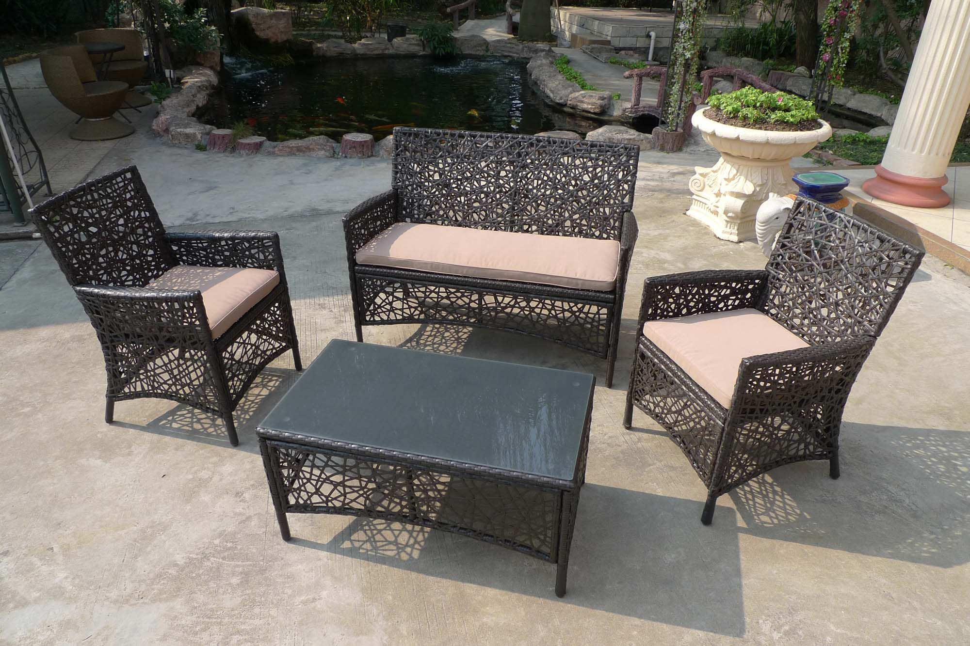 Arianna 4pc spider web designed wicker patio deep seating set with cushions