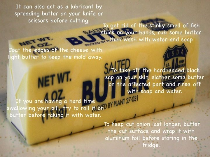 Butter beyond baking:  http://theultimatechic.com/the-other-uses-of-butter/