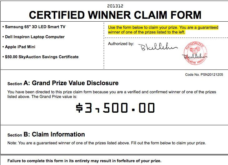The sponsor is giving away a free award valued up to $3,50000 - free claim form