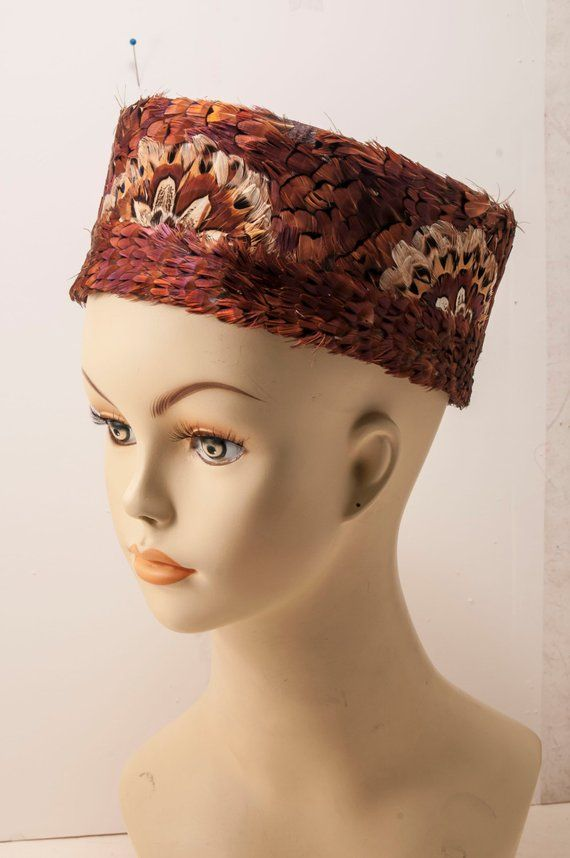4e026f764e8 1960s ladies pheasant feather pillbox hat. Clean