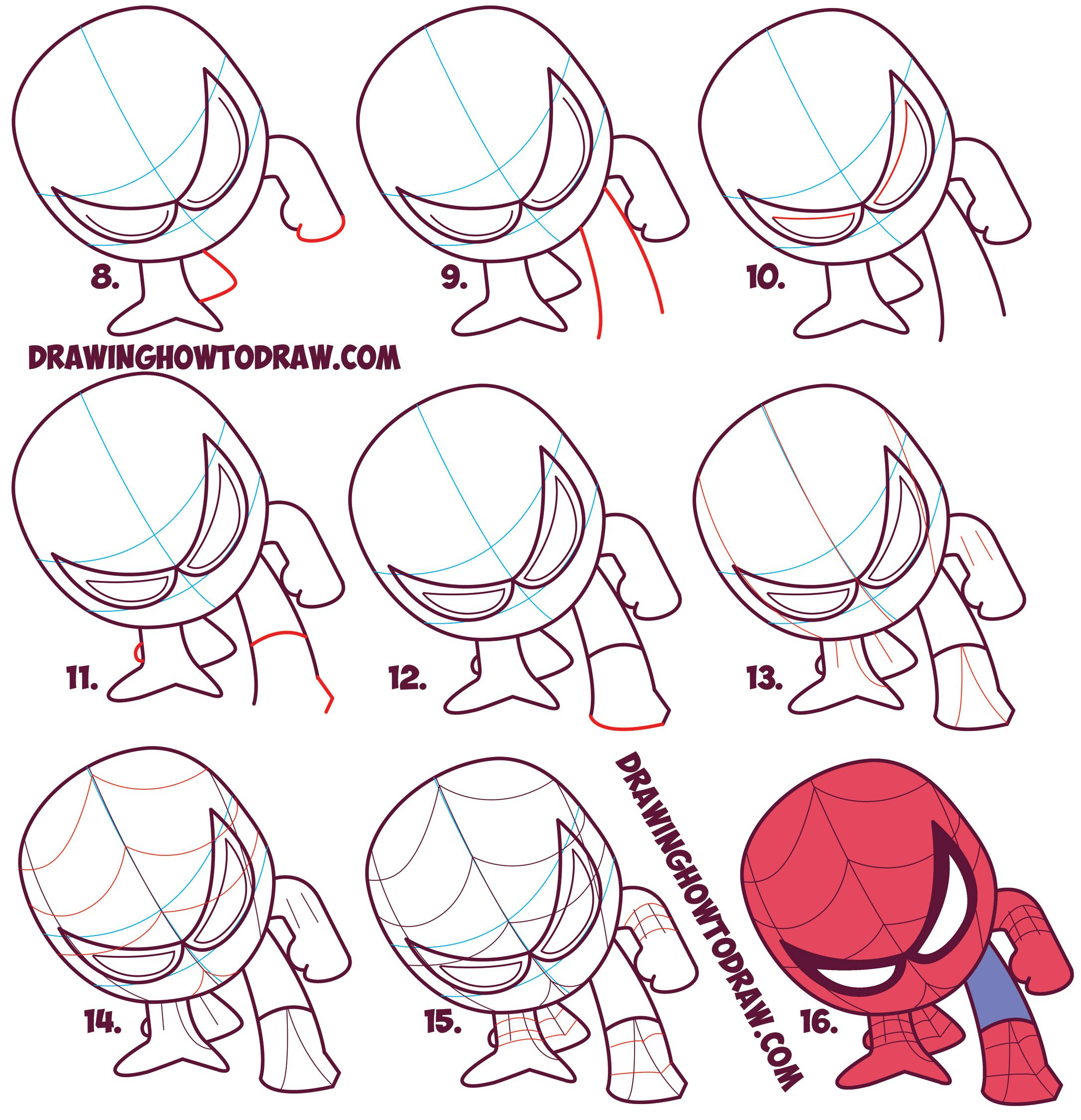 Learn how to draw cartoon spiderman cute chibi kawaii simple steps drawing lesson for kids