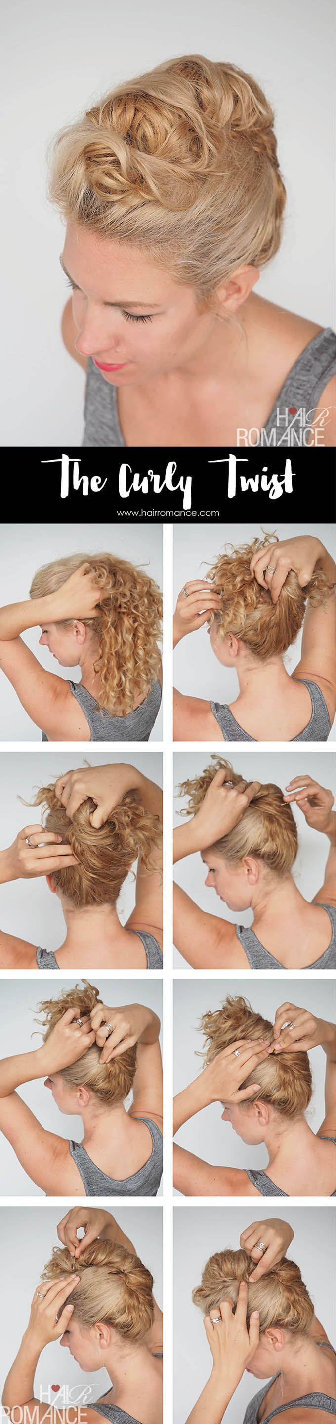Curly hair tutorial easy curly twist updo hair pinterest