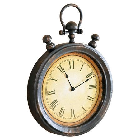 Distressed Stopwatch Style Wall Clock With Roman Numeral Dial