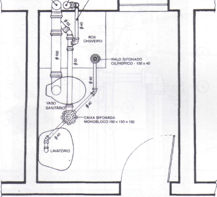 Hidraulica De Um Banheiro : Abaixo uma planta baixa das instala?es hidr?ulicas de um