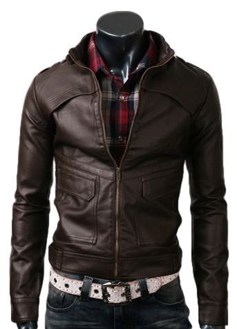 $159 strap slim dark brown leather jacket