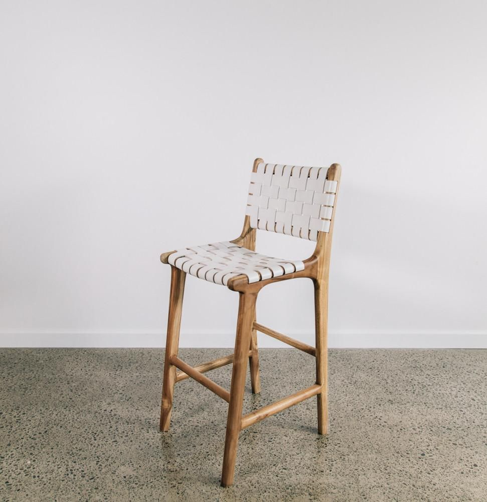 White Leather Weave Bar Stool With Back Woven Bar Stools Bar