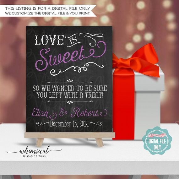 Favor Table/Candy Buffet Sign Wedding Love von WhimsicalStationery