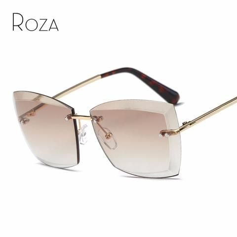 23911053e64 ROZA Sunglasses For Women Oversize Square Diamond cutting Lens Fashion  Shades Brand Designer Sun Glasses QC0528