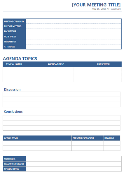 Meeting Minutes Template created in Microsoft Word Office