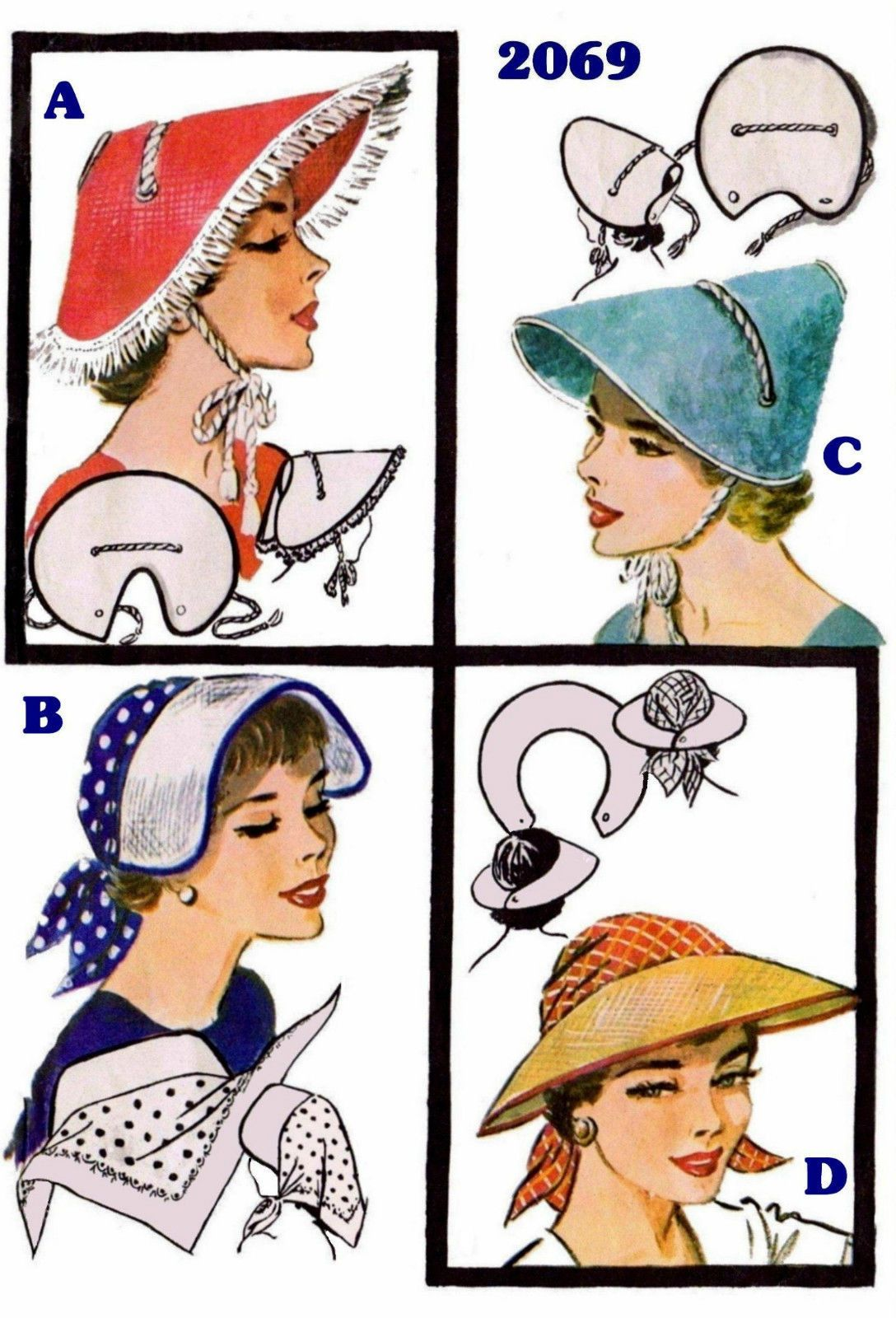 50s Millinary 4 Vint SUNBONNET VISOR HAT Fabric Material Sewing Sew ...