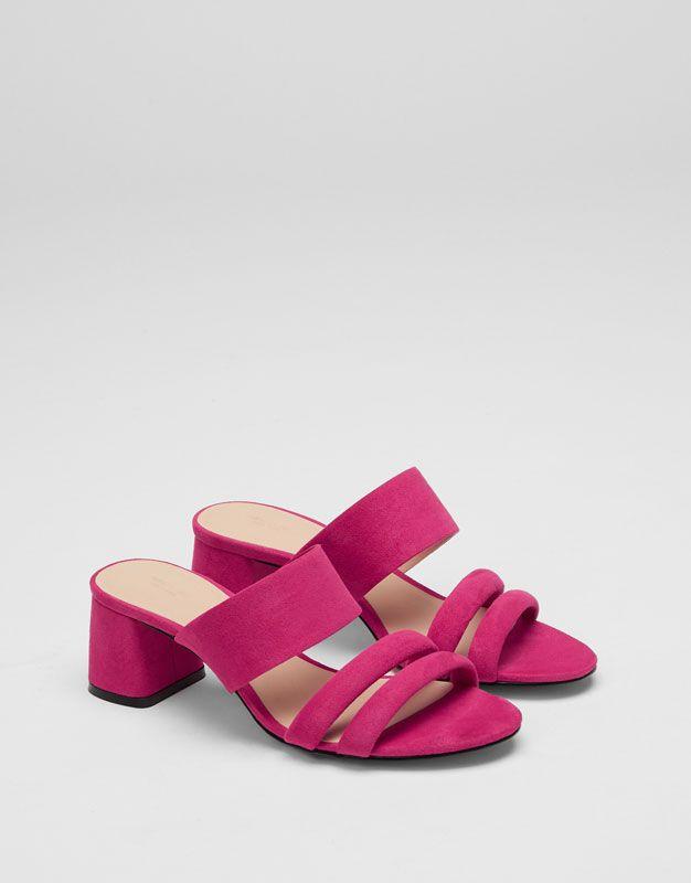 Pull&Bear - mujer - zapatos - sandalias de tacón y cuñas - sandalia noche  rosa - fucsia - 11835211-V2017