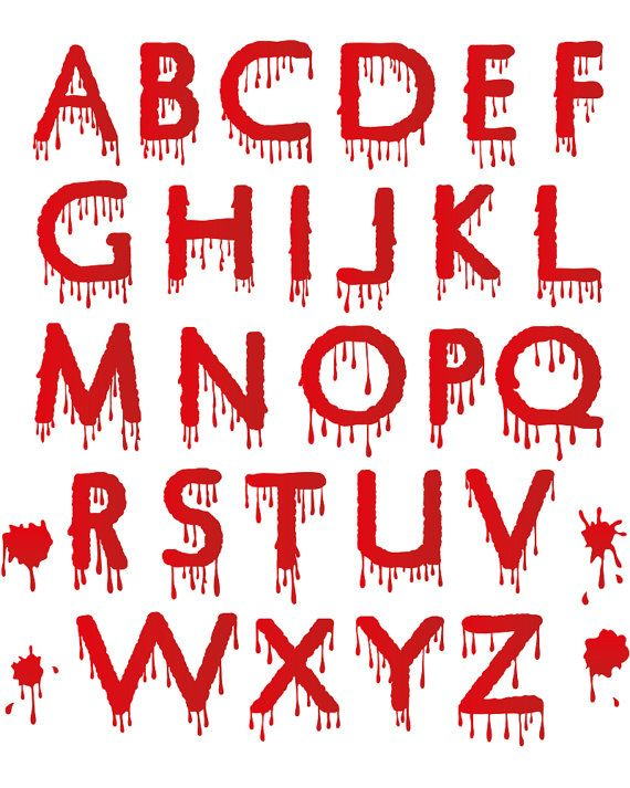 Digital Halloween Clipart Alphabet Dripping Blood Spooky Letters Set Spooky Alphabet Scary Black and