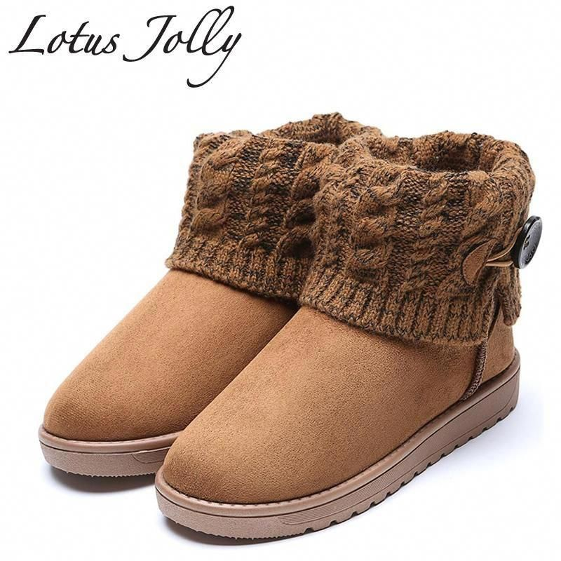 Lotus Jolly Plus Size 35-41 Women 2018 Buckle Snow Boots Woolen Ankle Boots  Winter bc55de28b320