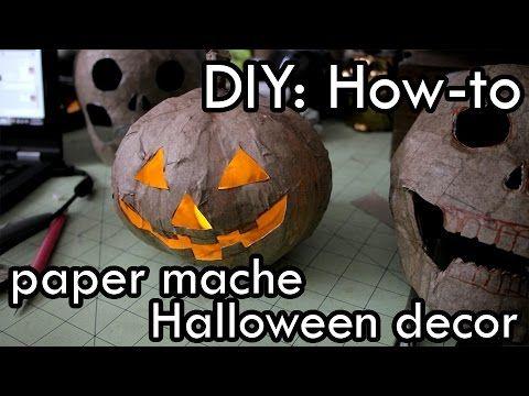 Paper Mache Pumpkin Halloween - YouTube halloween Pinterest - how to make halloween decorations youtube