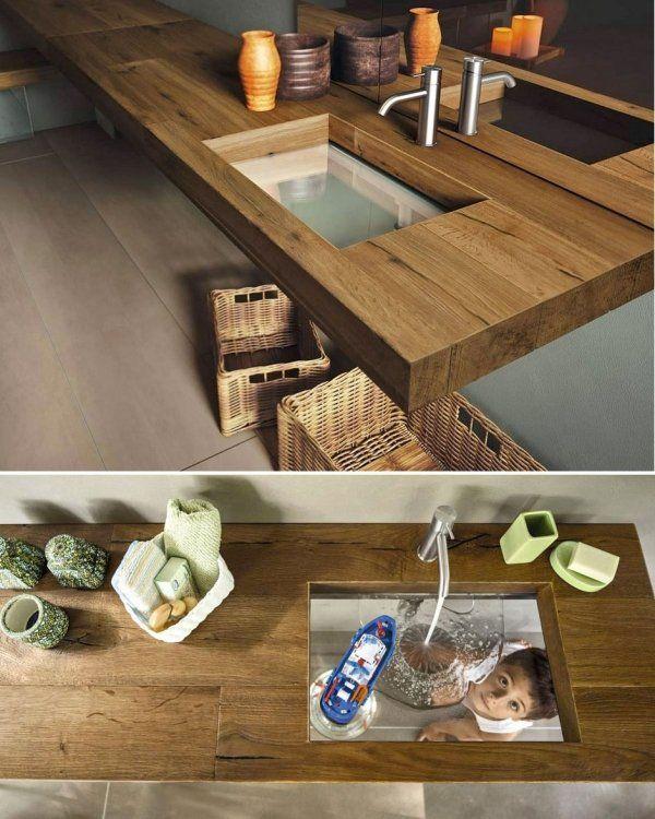 Badezimmer Möbel-Set Waschbeckentisch-Massivholz Lago-transparent - badezimmer m bel set