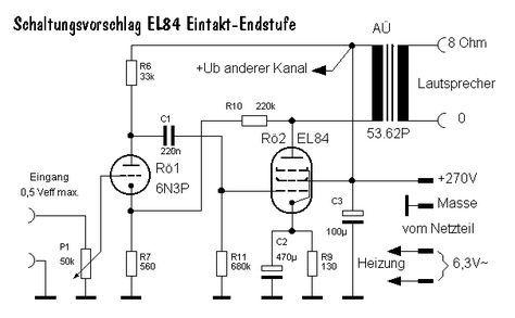 r hren verst rker mit el 84 amplificador circuitos electr nica. Black Bedroom Furniture Sets. Home Design Ideas