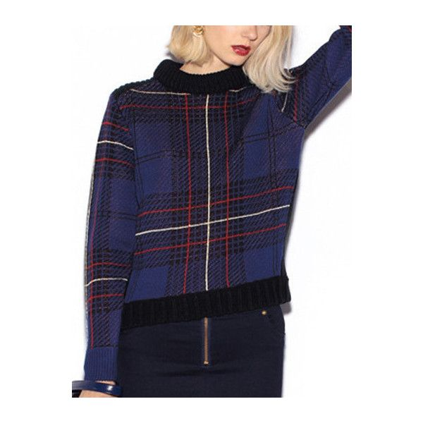 Long Sleeve Plaid Blue Sweater (99 SAR) ❤ liked on Polyvore featuring tops, sweaters, blue, blue top, blue long sleeve top, blue pullover, sweater pullover and plaid sweater