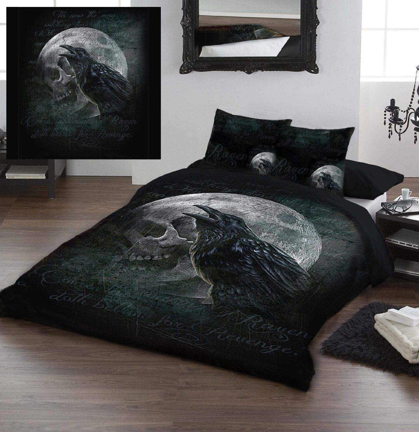 raven bedroom set. Double Bed Duvet  Pillowcase Set Ravens Curse Officially Licenced Gothic Alchemy Artwork