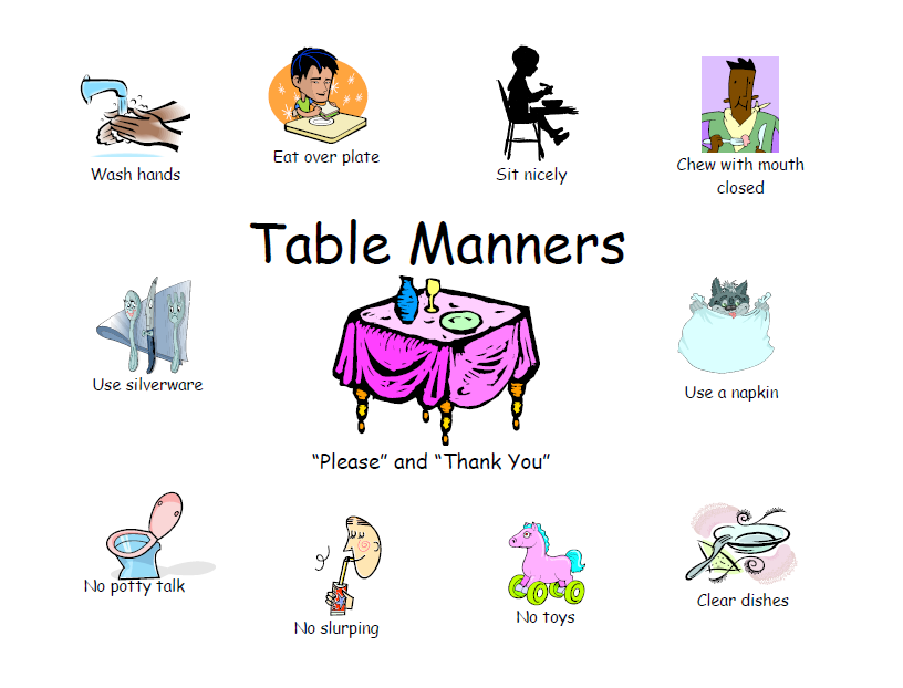 Free Printable Table Manners Chart This Chart Shows Different