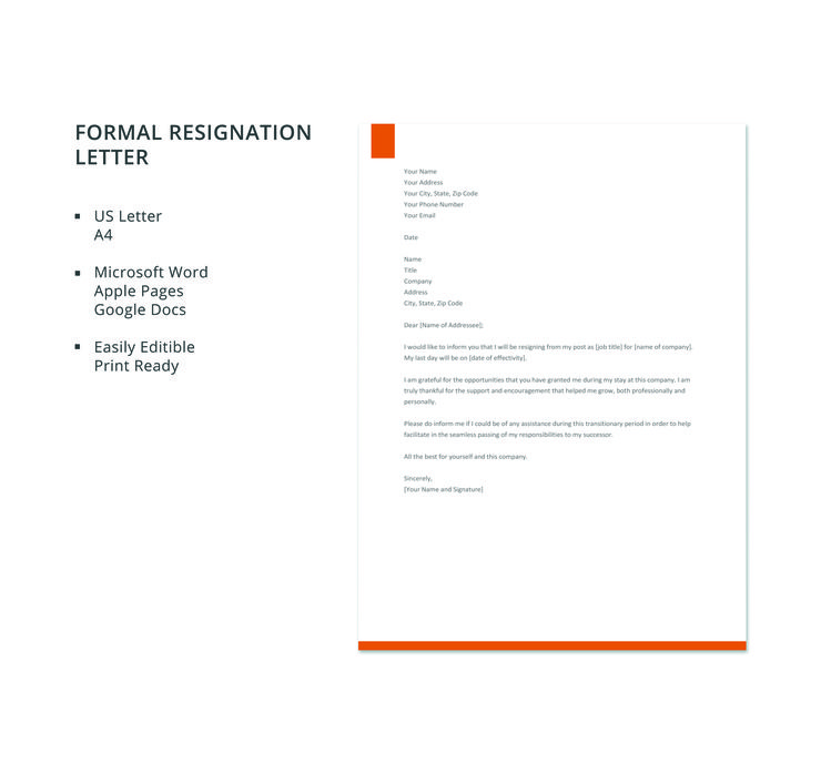 resignation letter template google docs  Formal Resignation Letter Template | Resignation letter ...