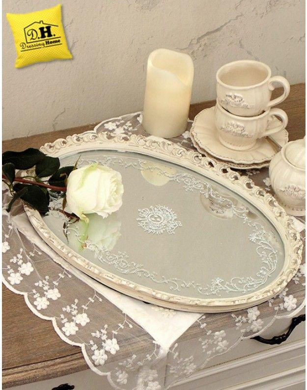 Vassoio Ovale con Specchio Decorazione Floreale Shabby Chic Blanc ...