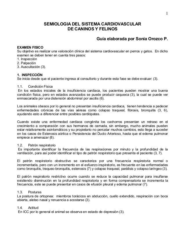 1 SEMIOLOGIA DEL SISTEMA CARDIOVASCULAR DE CANINOS Y FELINOS Guía ...