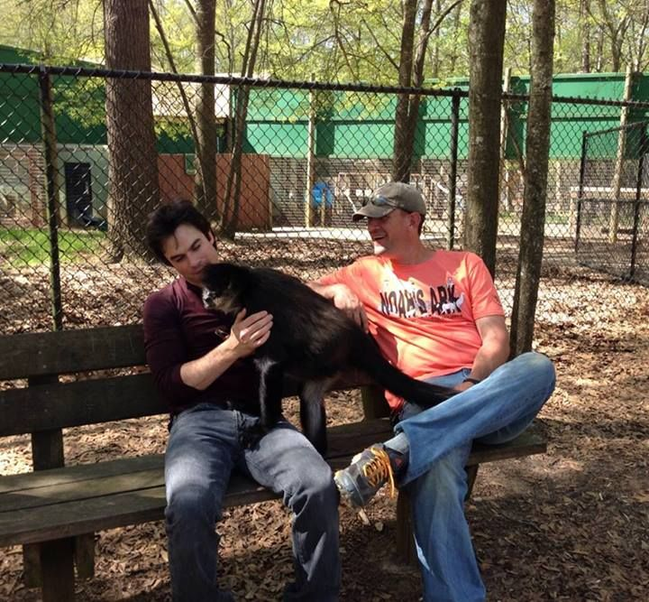 Ian Somerhalder with Clark Gable, a spider monkey at Noah's Ark... Ian is a very loving, amazing person with a huge capacity for compassion for animals and children that is very much in tune with all that Noah's Ark is about. We hope to partner together in the near future and offer some programs for children. Stay tuned! #iansomerhalder