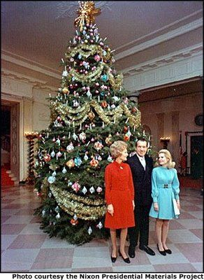 The 1969 Nixon tree featured velvet and satin balls representing each of the 50 states made by disabled workers in Florida.