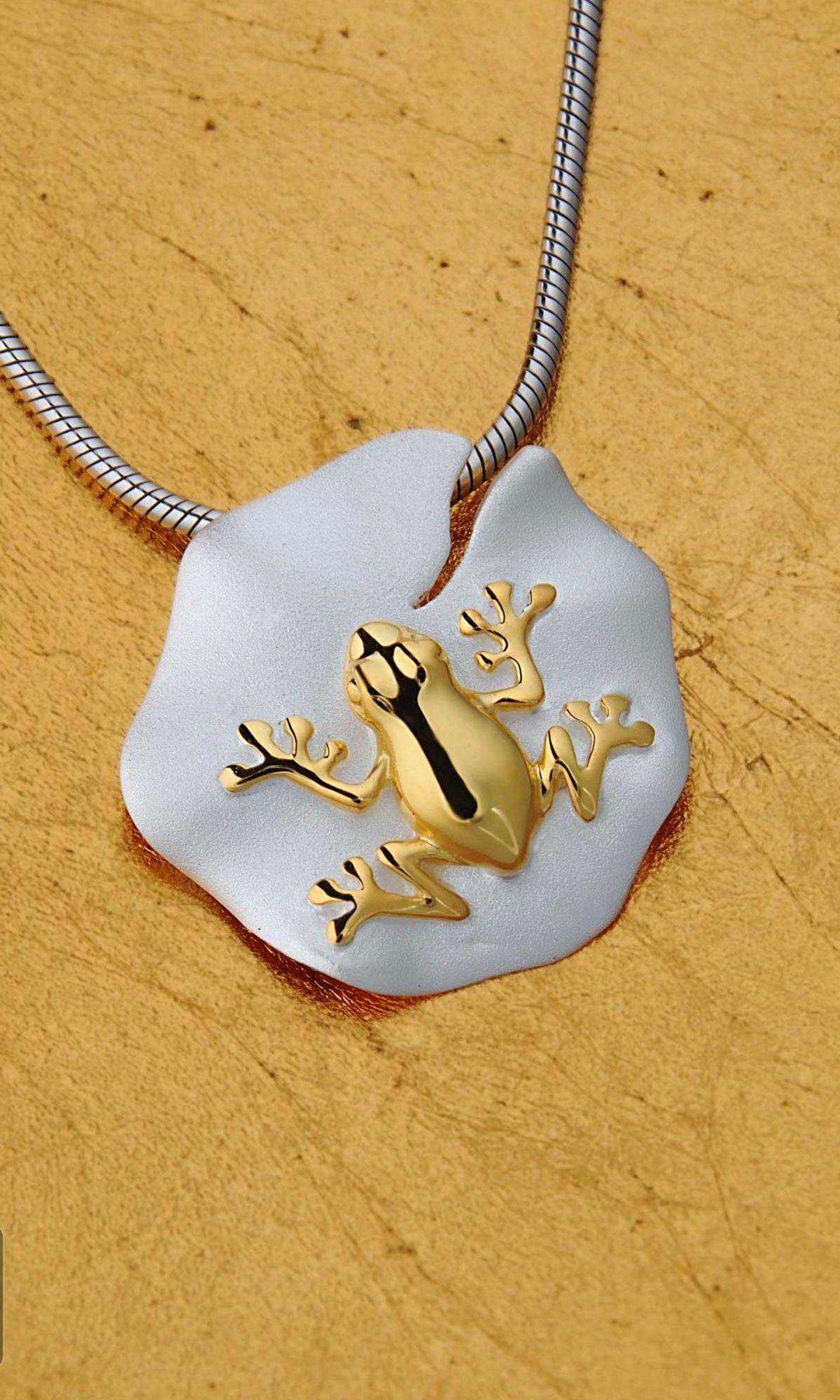 Frog on a lotus leaf pendant contemporary jewellery sterling frog on a lotus leaf pendant sterling silver pendantsband ringsdesigner aloadofball Image collections