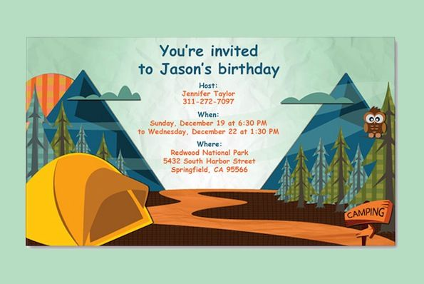 I love this idea for a birthday party Looks like it would be – Camping Birthday Invitations
