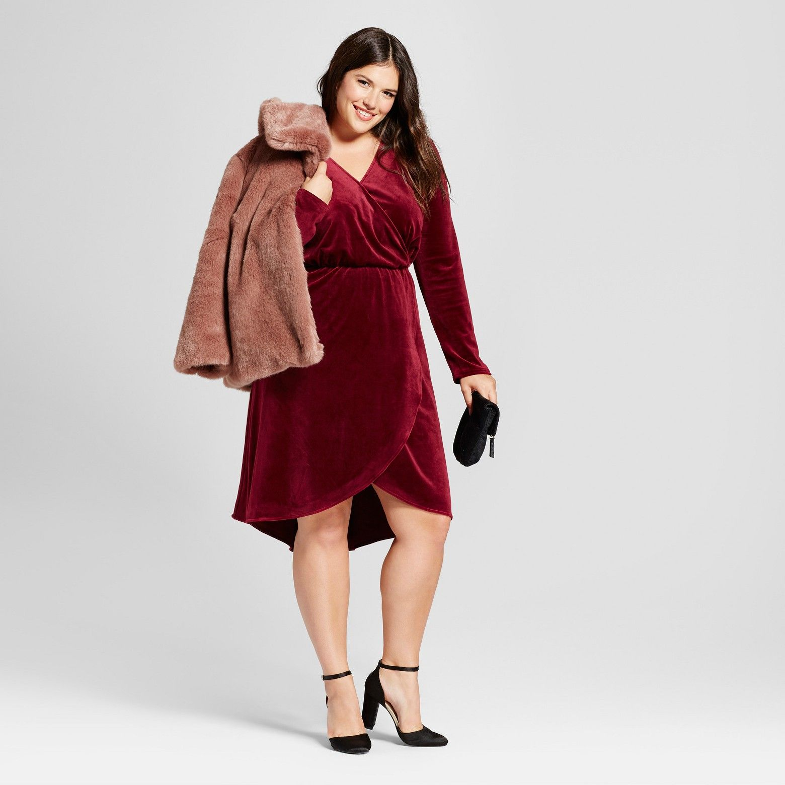 Women\'s Plus Size Velvet Wrap Dress - A New Day™ Red : Target ...